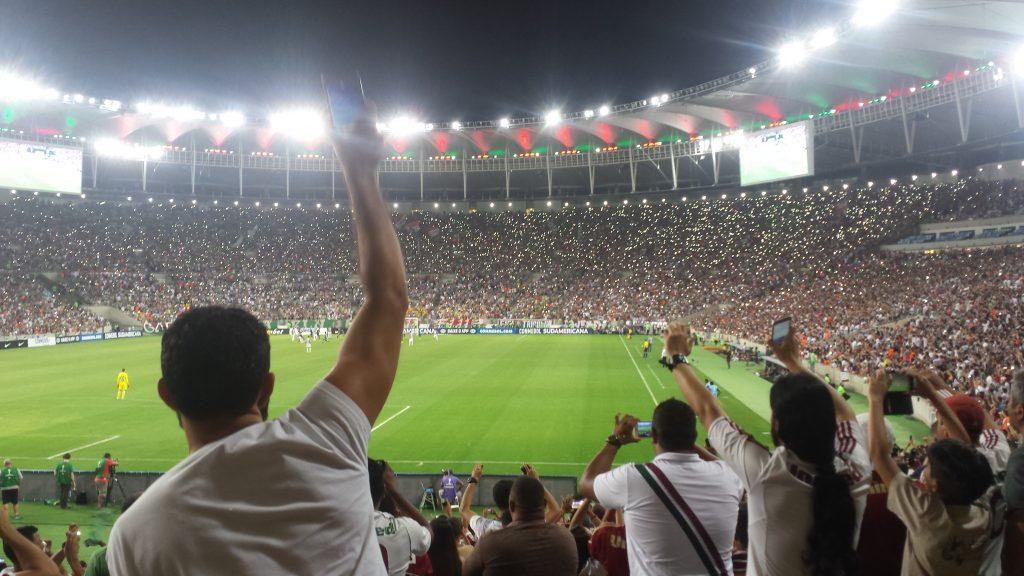 Das ganze Stadion singt.