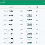 Flugpreisübersicht Frankfurt-London am Montagvormittag