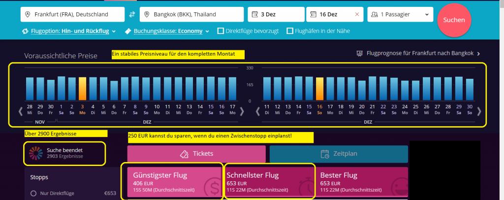 Viele Alternativen und stabile Flugreise für FRA - BKK
