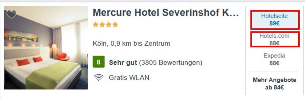 Auch hier ist das Zimmer bei dem OTA Hotels.com günstiger als bei der Hotelwebsite von Mercure