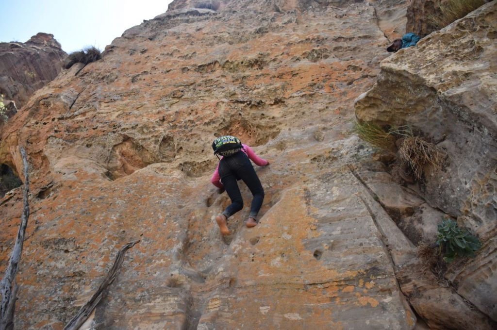 Guide klettert ohne Seil