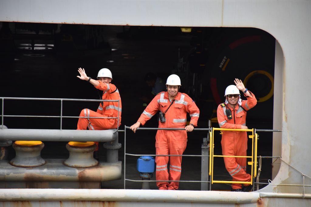 Schiffsarbeiter am Panamakanal